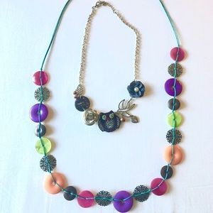 Bundle of 2 fun eclectic colorful necklaces